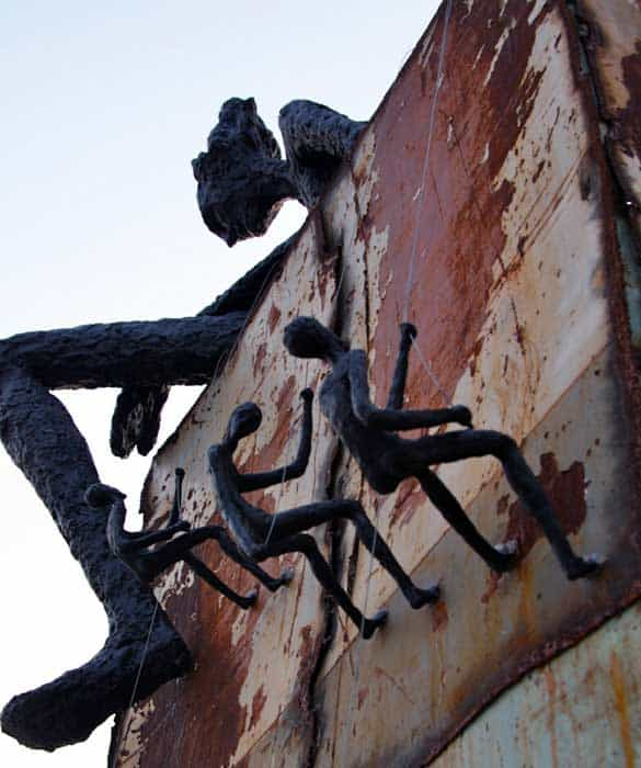 Climbing Man Wall Sculpture - Metal Wall Sculpture