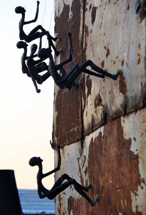 Climbing Man Wall Sculpture - Outdoor Art
