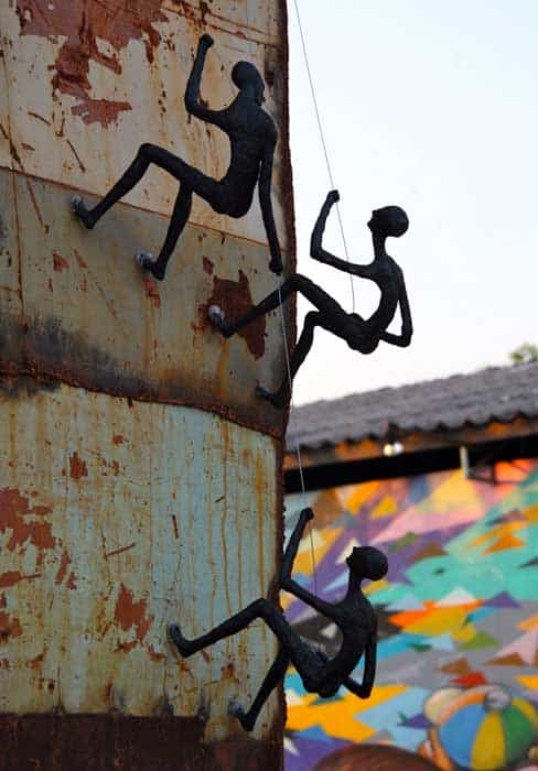 Climbing Man Wall Sculpture - Outdoor Metal Wall Art