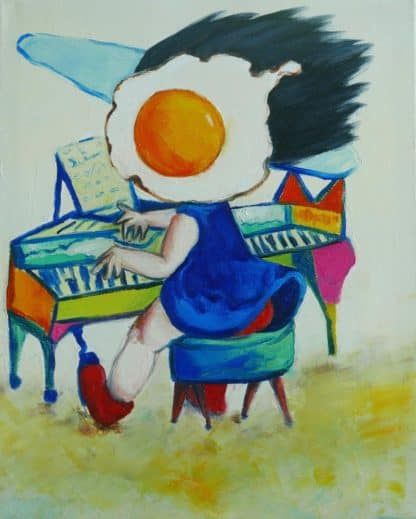 Ta - Egg Girl Playing Piano - 40 X 50 - 10-5