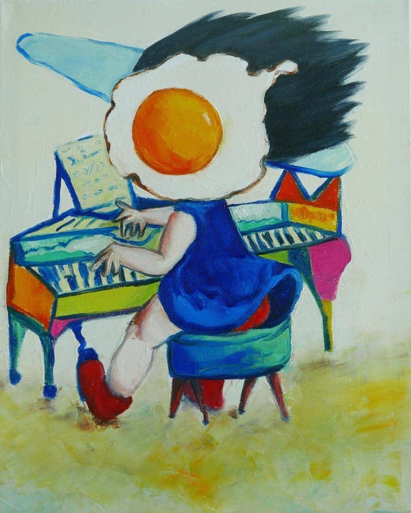 Ta - Egg Girl Playing Piano - 40 X 50 - 10-5