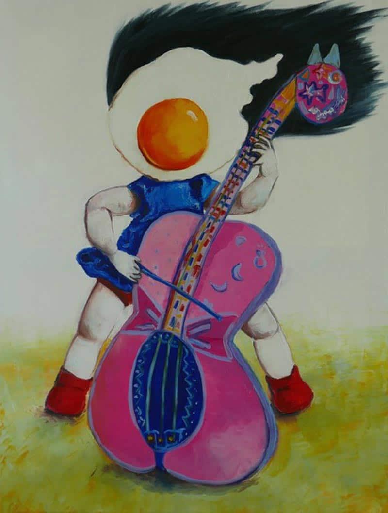 Ta - Egg Girl Playing The Cello - 60 X 80 - 19-5