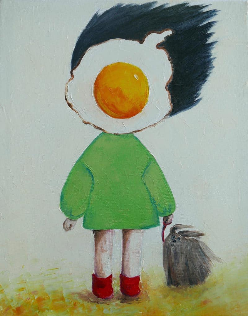 Ta - Egg Girl With Dog On A Windy Day - 40 X 50 - 10-5