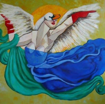 Ta - Goddess Dancing With Swan In Moonlight - 120 X 120 - 36