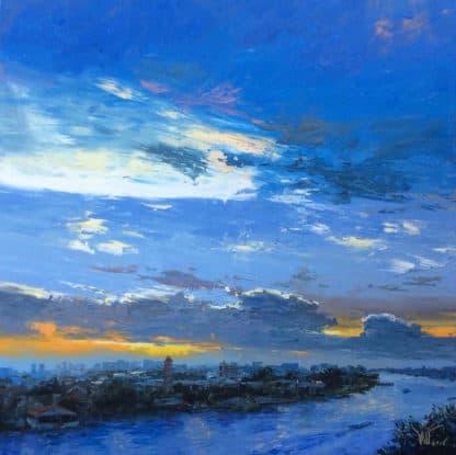 Dusit - Sunset on Chao phraya river - 140 x 140 - 36-4
