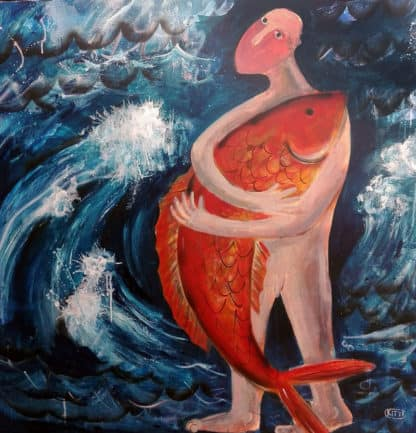 Kitti - Ocean Man And Red Fish - 100 x 100 - 7-5