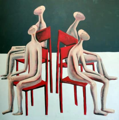Kitti - Red chairs - 100 x 100 - 7-5