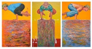 Warawut - Balancing on the mountain of scrap paint - triptych - 330 x 175 - 240