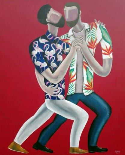 Kitti - Man in Flamingo Shirt - 100 x 120 - 9-5