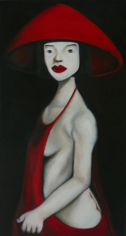 Ta - Lady in red hat and dress - 55 x 107 - 27