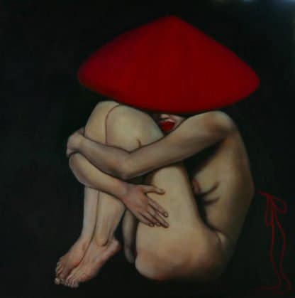 Ta - Nude Model with Red Ribbon - 120 x 120 - 36