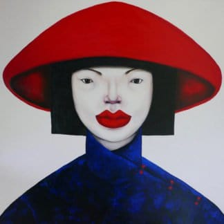 Ta - Vietnamese lady in red hat - 120 x 120 - 35-3