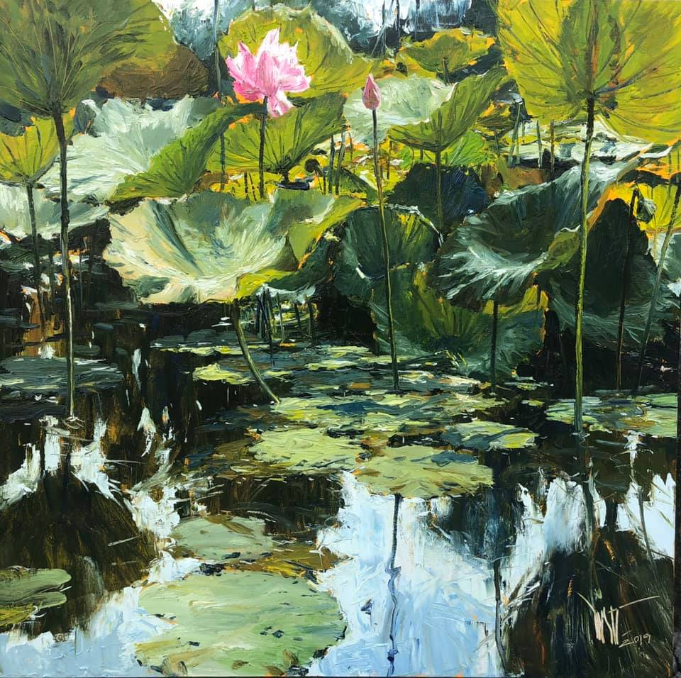 Sunny Day - Oil painting by Thai artist Dusit.